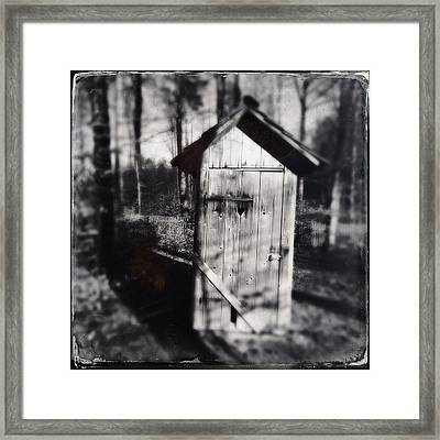 Outhouse Black And White Wetplate Framed Print
