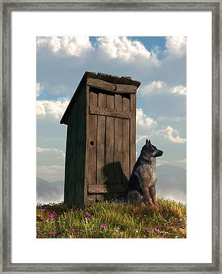 Outhouse Guardian - German Shepherd Version Framed Print by Daniel Eskridge