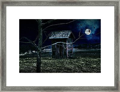 Outhouse In The Moonlight With Flying Crows Framed Print by Randall Nyhof