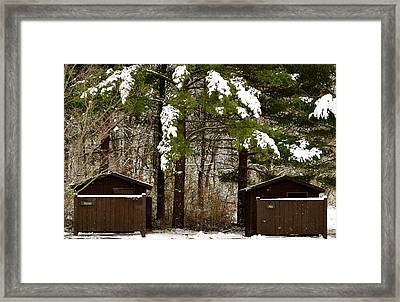 Outhouses In The Cold Framed Print