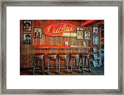 Outlaw Social Club Framed Print by Debra and Dave Vanderlaan