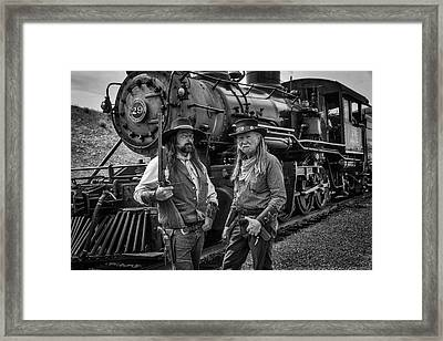 Outlaws With Old Steam Train Framed Print by Garry Gay