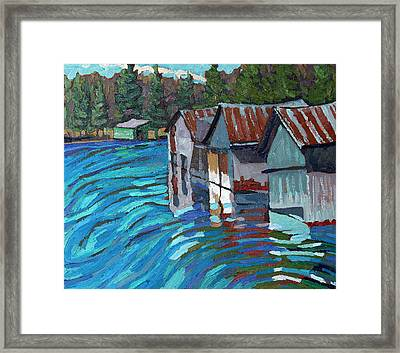 Outlet Row Of Boat Houses Framed Print by Phil Chadwick