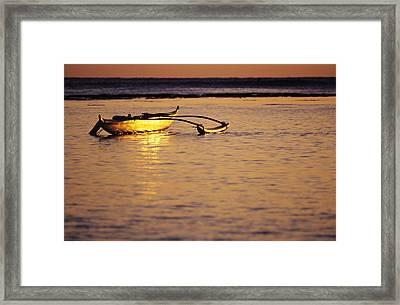 Outrigger And Sunset Framed Print