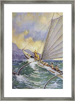 Outrigger At Sea Framed Print by Hawaiian Legacy Archive - Printscapes