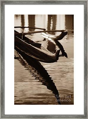 Outrigger Canoe - Sepia Framed Print
