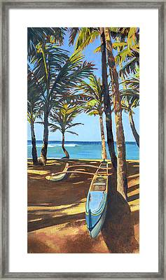 Outrigger Canoe At Mama's Fish House Framed Print