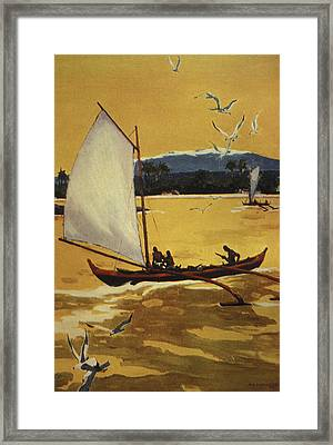 Outrigger Off Shore Framed Print by Hawaiian Legacy Archive - Printscapes