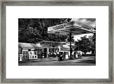 Outside At Clays Corner In Black And White Framed Print by Greg Mimbs