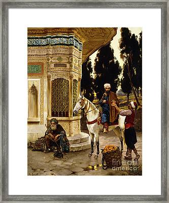 Outside The Palace Framed Print by Rudolphe Ernst
