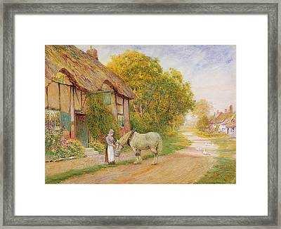 Outside The Village Inn Framed Print by Arthur Claude Strachan