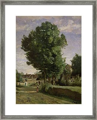 Outskirts Of A Village Near Beauvais Framed Print by Jean Baptiste Camille  Corot