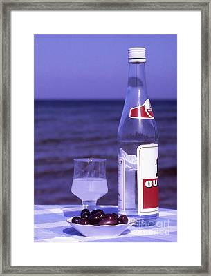 Ouzo And Olives By The Sea Framed Print by Steve Outram