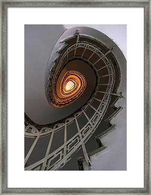 Oval Staircase With Golden Lights Framed Print