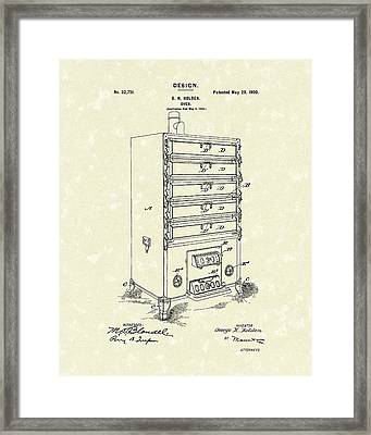 Oven Design 1900 Patent Art Framed Print by Prior Art Design