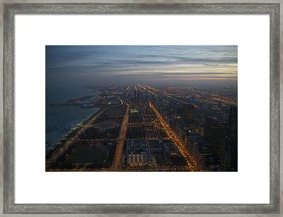 Over Chicago At Dusk Framed Print