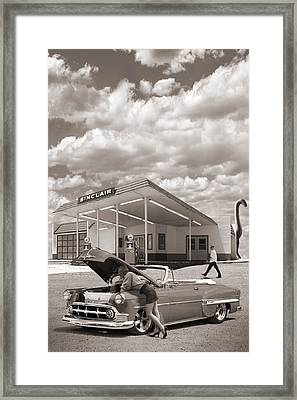 Over Heating At The Sinclair Station Sepia Framed Print by Mike McGlothlen