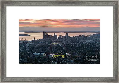 Over Seattle And Capitol Hill At Sunset Framed Print by Mike Reid