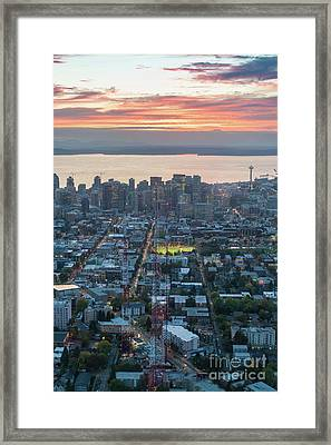 Over Seattle  Capitol Hills Towers Framed Print by Mike Reid