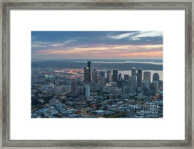 Over Seattle Downtown And The Stadiums Framed Print