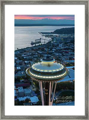 Over Seattle Space Needle Dusk Closeup Framed Print by Mike Reid