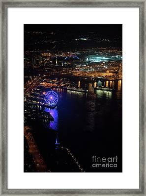 Over Seattle The Great Wheel At Night Framed Print by Mike Reid