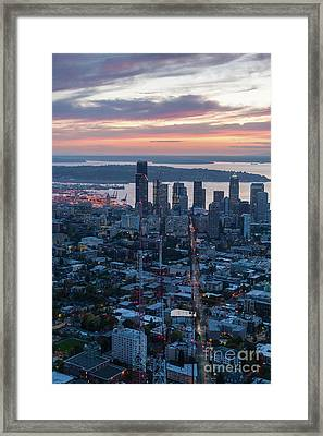 Over Seattle  The View Up Madison Street At Sunset Framed Print by Mike Reid