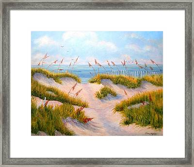 Over The Dunes Framed Print by Elaine Bigelow