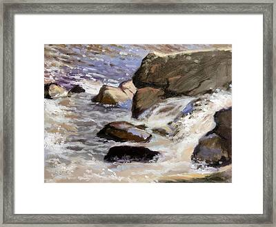 Over The Edge- Strong Falls Framed Print by Larry Seiler
