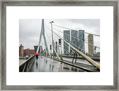 Framed Print featuring the photograph Over The Erasmus Bridge In Rotterdam With Red Umbrella by RicardMN Photography
