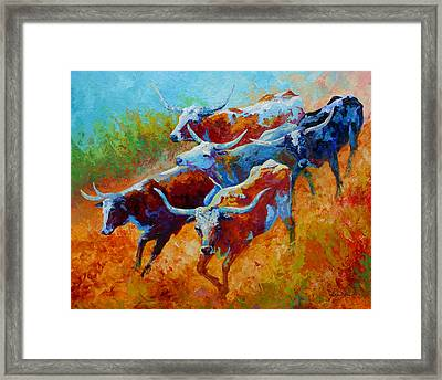 Over The Ridge - Longhorns Framed Print by Marion Rose