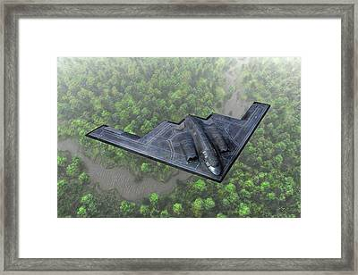 Framed Print featuring the painting Over The River And Through The Woods In A Stealth Bomber by Dave Luebbert