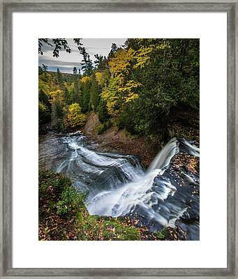 Over The Top - Laughing Whitefish Falls Framed Print