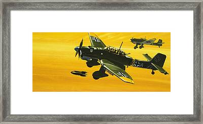 Overboard Junkers Ju87 Stuka Dive Bomber Framed Print by Wilf Hardy