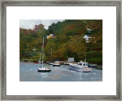 Overcast Day At Rockport Harbor Framed Print by Peter Salwen