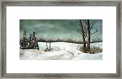 Framed Print featuring the painting Overcast Winter Day by Anna-Maria Dickinson