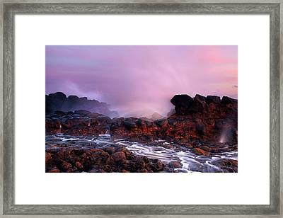 Overcome By The Tides Framed Print by Mike  Dawson