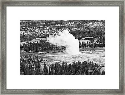 Overhead View Of Old Faithful Erupting. Framed Print by Jamie Pham