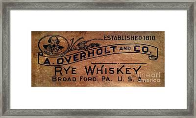 Overholt Rye Whiskey Sign Framed Print by Jon Neidert