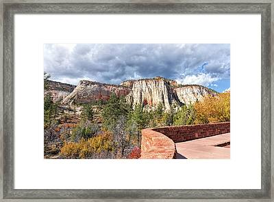 Framed Print featuring the photograph Overlook In Zion National Park Upper Plateau by John M Bailey