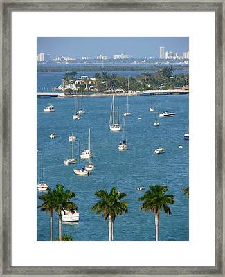 Overlooking A Miami Marina Framed Print by Margaret Bobb