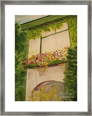 Framed Print featuring the painting Overlooking Butchard Gardens  by Vicki  Housel
