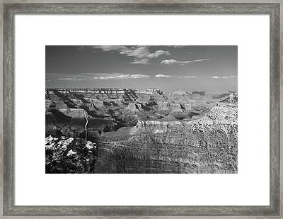 Overlooking Grand Canyon - Black And White  Framed Print by Gregory Ballos