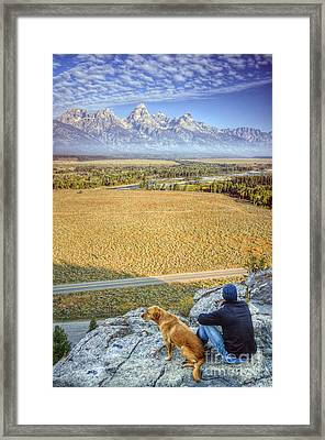 Overlooking The Grand Tetons Jackson Hole Framed Print
