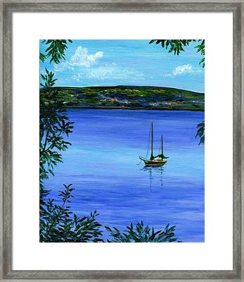 Overlooking The Hudson Framed Print