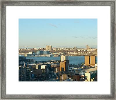 Overlooking The Hudson River From 42nd Street II Framed Print by Susan Heller