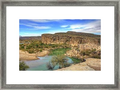 Overlooking The Rio Grande Framed Print by Ellen Henneke