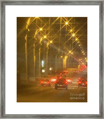 Framed Print featuring the photograph Overpass Traffic by Linda Phelps