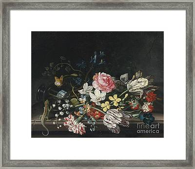 Overturned Vase Of Flowers Framed Print