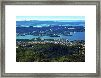 Overview Of Hobart Tasmania Framed Print by Kirsten Giving